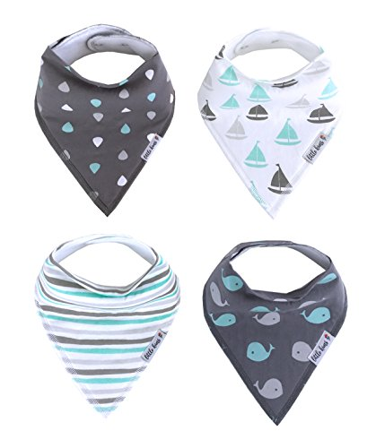 Organic Drool Bibs Bandana Bibs for Teething, Unisex Baby Bib Gift Set for Boys and Girls by Little Kims - 4-Pack Set (Happy Waves)