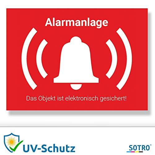 SOTRO Alarmsysteem, sticker, alarmbeveiliging, sticker, binnen en buiten, met UV-beschermlaminaat, waarschuwingsstickers alarm voor buiten, waarschuwing alarminstallatie 70 mm x 50 mm rood