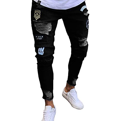 Nutriangee Men's Moto Biker Jeans Distressed Ripped Holes Skinny Slim Fit Denim Pants with Patches, 01 Black, W36