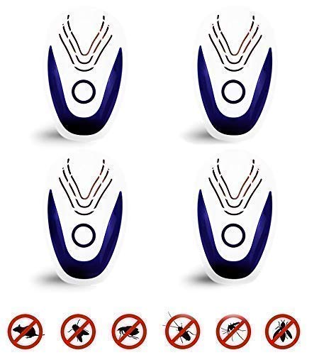 ULTRASONIC BLUE / New / Ultrasonic Pest Repeller Portable Plug-in Control (4-Pack) Electronic Insect Repellent Non-Toxic Gets Rid Mosquito Bed Bugs Roach Spiders Fleas Mice Ants Fruit Fly