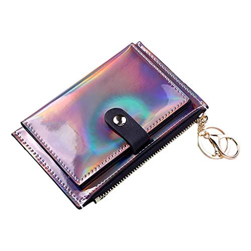 perfeclan Moda mujer compacta billetera de cuero PU plegable con bolsillo para dinero tarjeta de identificación estuche monedero llavero - Negro