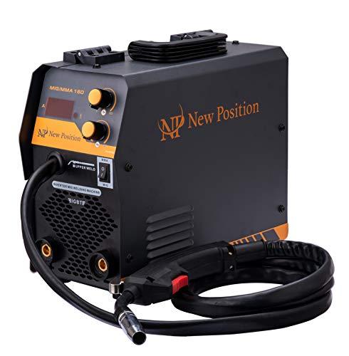 NewPosition MIG/MAG/MMA 3-in-1 Welder, 160A Stick ARC Welding Machine, Flux Core Welder, Gas/Gasless IGBT Inverter,110V
