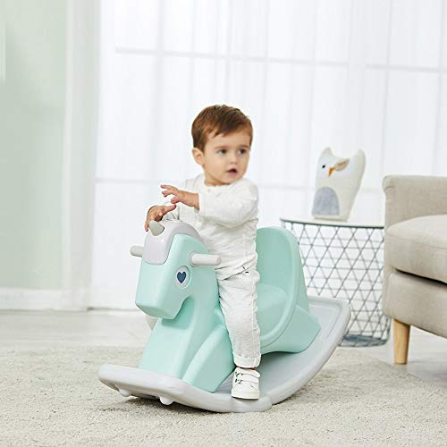 Kiblcy Plastic Rocking Horse Toy Rocker Seesaw Baby Infant Pony Animal First Rocking Horse With Handle, Traditional Ride On Toy Outdoor Indoor Toy Gift for Boy Girl Children (Color : Green)