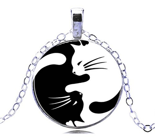 GEMINGO Unique Style Cat Yin Yang Necklace Paper Art Yin Yang Friend Ship Necklace (Silver)