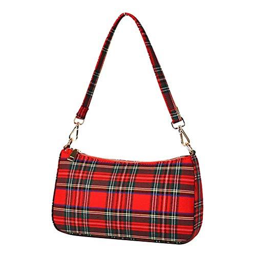Qiekenao Vintage Kariert Muster Unterarmtasche Damen Canvas Baguette Tasche Mode und vielseitige One-Shoulder Messenger Bag, rot (Rot) - FA1123017_RD-1646-1658480981