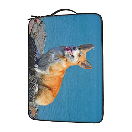 YXJK Corgi Laptop Sleeve 13 Inch Compatible with Ipad, MacBook Pro, MacBook Air, Notebook Computer, Water Repellent Polyester Computer Skin Bag