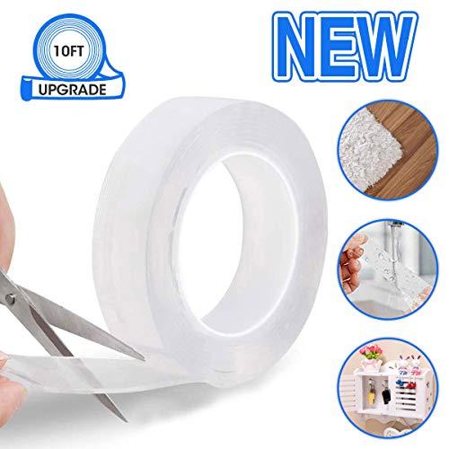 Reutilizable Nano Tape,LIUMY transparente doble cara Cinta Adhesiva de Pared Fuerte, reutilizable antideslizante de gel fuerte lavable, para pared, cocina, alfombra, fijación de fotos -9.84ft (3M)