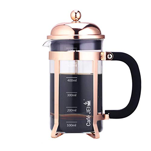 Cafe JEI French Press Coffee and Tea Maker 600ml with 4 Level Filtration System, Stainless Steel, Heat Resistant Borosilicate Glass (Rose Gold, 600ml)
