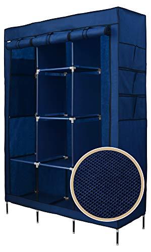Best for Home XXL 175 x 130 x 45 cm Stoffschrank Kleiderschrank Faltschrank mit Kleiderstange CE-Zertifikat (Blau)