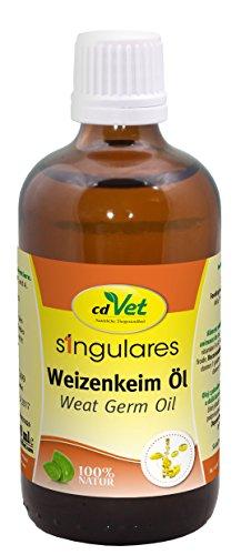 cdVet Naturprodukte Singulares Weizenkeim-Öl 100 ml - Hund, Katze, Tauben - glänzendes Haarkleid - regt Durchblutung+Stoffwechsel an - Vitamin E+A - Wohlbefinden  - kaltgepresst - 100% Natur -