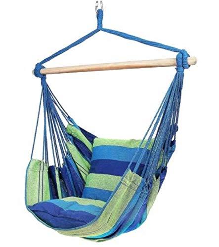 Silla colgante azul/verde, silla colgante, para interior y exterior, 120 kg, decoración, hamaca, columpio, jardín