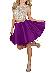 Purple 2pc Illusion Beaded Rhinestone Satin Short Dress