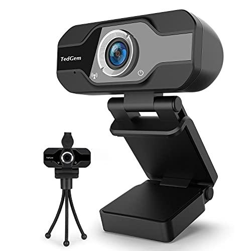 TedGem Web CAM, Webcam 1080p Camara Web, Webcam Full HD con Micrófono para Videollamadas, Webcam para Windows, Android, Linux