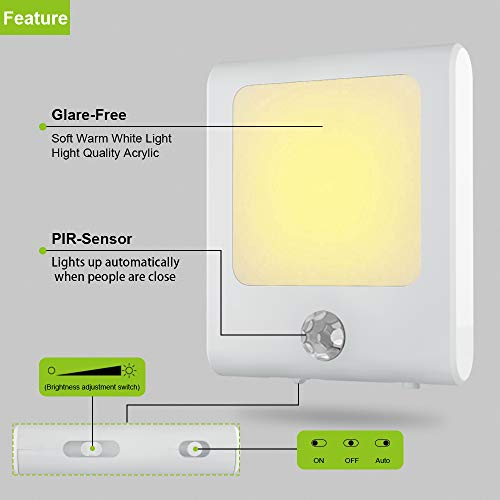 MAZ-TEK Plug in Motion Sensor Lights with Adjustable Brightness
