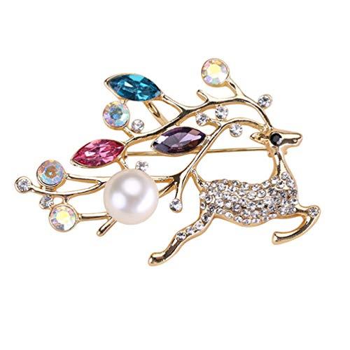 Desconocido Generic Broche de Ciervos Broche de Animales de Navidad Broche de Perlas de Cristal para Bolsos de Ropa Mochilas Chaquetas Sombrero Joyas Accesorios de Bricolaje