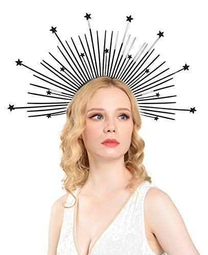 Zivyes Mary Halo Krone mit Sternen Spike Krone Damen Kostüm Kopfschmuck (2-Gold) - - Einheitsgröße