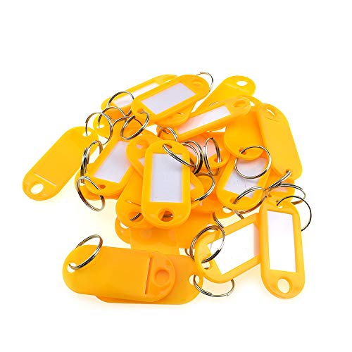 Boscoqo 5.1x2.2cm Key Tags with Metal Split Ring Flexible Plastic Keychain ID Easy Write Slide Paper Label Window Yellow 30 Pieces for Classifying Lunchbox Backpack Luggage Jacket USB Drive