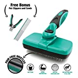 Ruff 'n Ruffus Self-Cleaning Slicker Brush + 2 Free Bonuses | Steel Comb + Pet Nail Clippers |Grooming Supplies Great for All Breeds & Hair Types (Grooming Set (with Free Bonus))