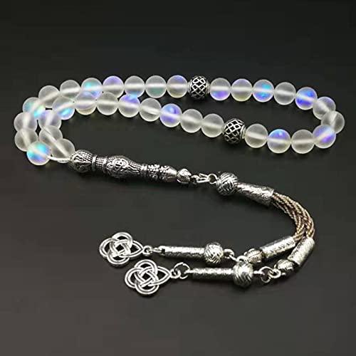 PPuujia Pulsera de cristal de cristal austriaco 33 66 99 cuentas con borlas de metal nuevo rosario femenino regalo rosario musulmán (longitud 8 mm, color metal: 66 cuentas)