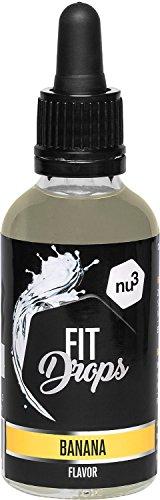 nu3 Fit Drops Aromi Naturali - Aroma Liquido Alimentare 50 ml - Gocce Aromatizzanti/Dolcificanti Senza Zucchero con Sucralosio - Preparato Aromatizzante Gusto Banana - Vegetariano