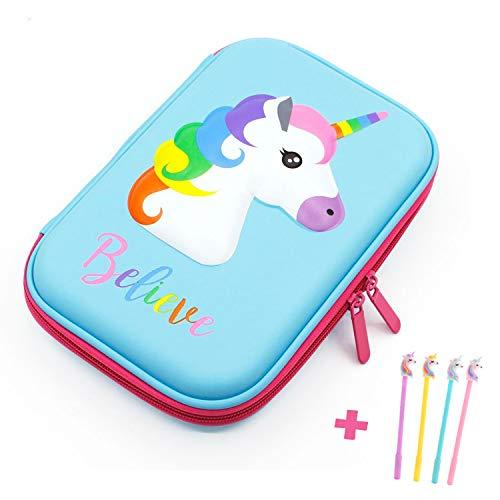 Pencil Case, iDelta 3D Cute EVA Unicorn Pen Pouch Stationery Box Anti-Shock Large Capacity Multi-Compartment for School Students Teens (Unicorn1 Blue)