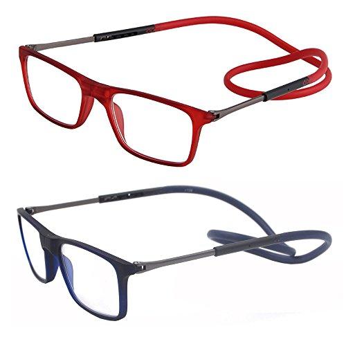 2 packung portable falten - connect erweiterbar leser brille für frauen männer lesen, um den hals hängen (1.25X, rot und blau)