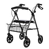 M-YN Andador para Ancianos Estabilizador for Caminar for Personas con Lesiones postoperatorias con Cuatro Ruedas, Asiento de Descanso