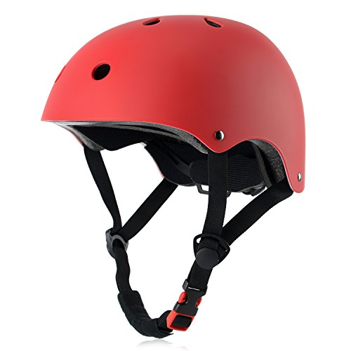 Kids Bike Helmet, Adjustable and Multi-Sport, from Toddler to Youth, 3 Sizes (Red)