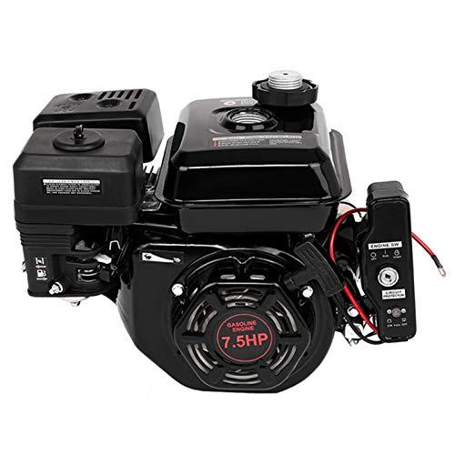 Kuhxz Engine, Electric Start 7.5 HP Go Kart Gas Engine Log Splitter Recoil/Electric Start Engine Gas Power Gasoline Engine Multi-Use Engine Horizontal Shaft Recoil Start Engine
