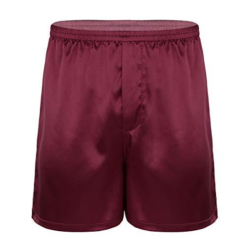 inhzoy Herren Satin Glanz Boxershorts Unterwäsche kurz Hose Shorts Schlafanzughose Nachtwäsche in Blau Lila Schwarz Rot Weinrot Medium
