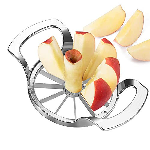 munloo Apfelschneider, 12 Klingen Apfelschäler, 10 cm Obstschneider mit Edelstahl ideal für Äpfel und Birnen (Silber)