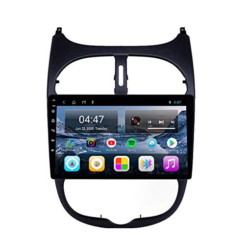 DMMASH 10.1Zoll Autoradio Für Peugeot 206 2000-2016,Autoradio Bluetooth GPS Navigation, Radio unterstützt Lenkradsteuerung WiFi Spiegelverbindung Rückfahrkamera,4 cores WiFi:2+32g