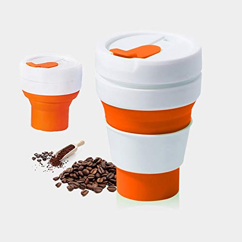 DACHENGJIN Coffee Tool 350ml Taza de Viaje Plegable de té de café Plegable al Aire Libre, tamaño de Bolsillo, Taza de Silicona con Tapa (Negro) (Color : Orange)
