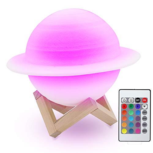 Bemodst 22cm Saturn Planet Lampe, 3D Druck 16 Farben Remote Touch Control Nachttischlampe Sicheres Nachtlicht und wiederaufladbare tragbare USB Nachtlichtgeschenke für Kinder, Freunde, Liebhaber