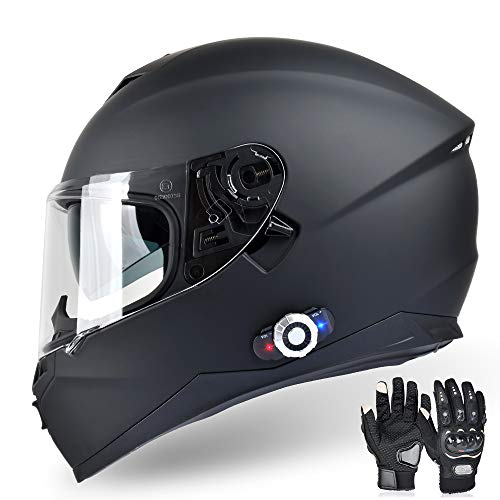 FreedConn Bluetooth Integrated Motorcycle Helmet, DOT Full Face BM12 Communication System Motorcycle Helmet with 500m FM Radio/ MP3, 2-3 Riders Pairing Intercom (Matte Black, L)