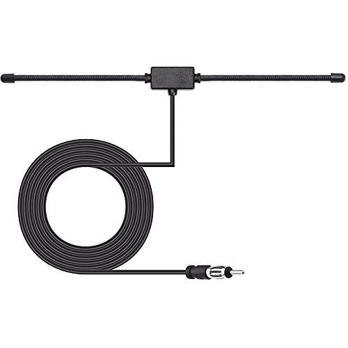 Bingfu Antena Dipolo de Radio Estéreo AM FM para Coche Universal,Soporte Adhesivo Oculto Conector DIN de Cable 3M para Intonizador Receptor de la Unidad Principal de Radio Estéreo para Camión Vehículo