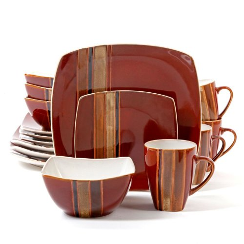 Gibson Elite 100140.16RM Regent Classic 16 Piece Reactive Glaze Dinnerware Set, Red