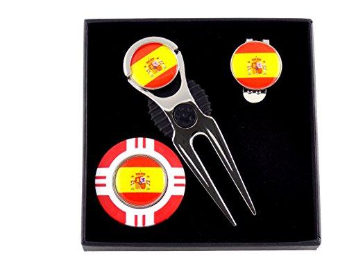 Mercia Golf International Set de Regalo de Marcador de Bandera con fichas de póquer, Herramienta de divoto, Clip para Sombrero y marcadores de Pelotas