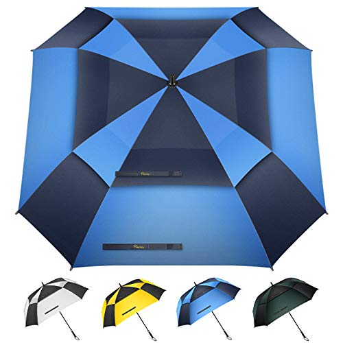 Heasy Windproof Golf Umbrella 54 62 inch Extra Large Double Canopy Vented Square Umbrella Automatic Open Oversize Stick Umbrellas for Family (Blue)