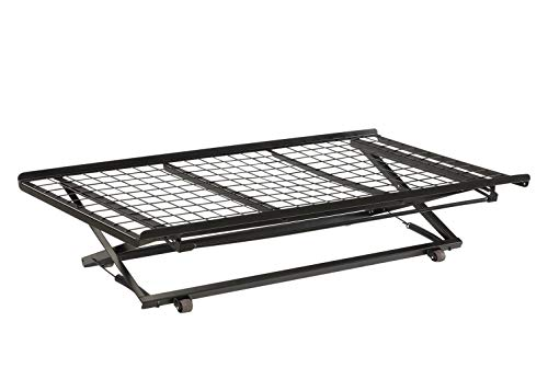 Twin Pop Up Trundle Bed on Rollers Black