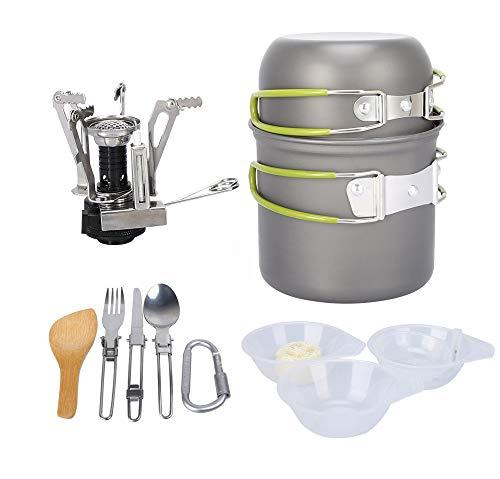 hOurDoor Tragbare Camping Kochgeschirr-Set, Outdoor Cooking Set, Backpacking Kochen Picknick Bowl Pot Pan-Set für 1 bis 2 Personen Reisen, Wandern und Camping