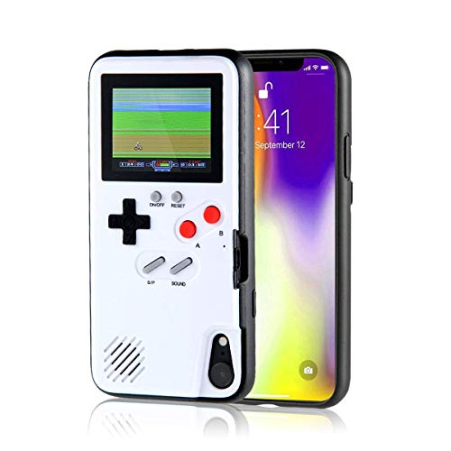 Gameboy iPhone Case Playable Gameboy Case for iPhone, 36 Classic Games Full Color Display Handheld Game Console Gameboy Phone Case Retro Gaming Phone Case Protective Cover (White, iPhone X/XS)