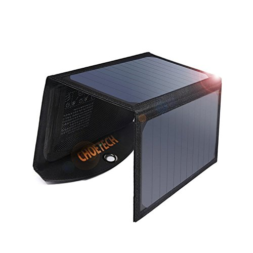 CHOETECH Cargador Solar Portatil, 19W Panel Solar Cargador Placa Solar Impermeable Solar Power Bank USB Puertos para Teléfonos Samsung, iPhone, Huawei, iPad, Cámara, Tableta, Altavoz Bluetooth etc.