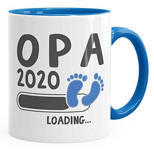 Kaffee-Tasse Opa 2020 loading Geschenk-Tasse für werdenden Opa Schwangerschaft Geburt Baby Tee-Tasse MoonWorks® blau unisize