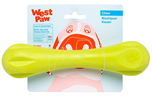 West Paw Zogoflex Hurley Dog Bone Chew Toy – Floatable Pet Toys for Aggressive Chewers, Catch, Fetch – Bright-Colored Bones for Dogs – Recyclable, Dishwasher-Safe, Non-Toxic, Large, Granny Smith