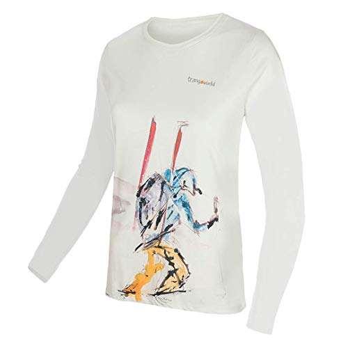 Trangoworld The Lonely WM Long Camiseta, Mujer, Blanco Menta, L