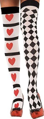 Leg Avenue Damen Halterlose Strümpfe Nylon 60 DEN Weiß Schwarz Rot Harlequin und Herz Einheitsgröße 36 bis 40