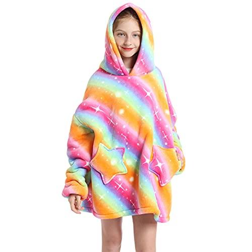 Sudadera con capucha para niños de gran tamaño, con forro polar sherpa de animal lindo con capucha para niños adolescentes, mullido gigante y cómoda sudadera con capucha, Rainbow Gold, talla única