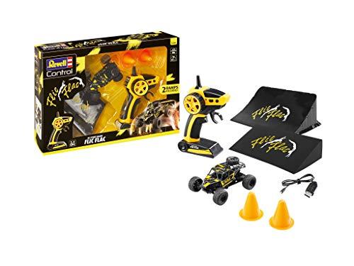 Revell Control 24448 RC Stunt Racer Set Flic Flac, 2.4 GHz, bis zu 25 km/h, mit 2 Sprungschanzen, integrierter Akku ferngesteuertes Auto, schwarz/gelb