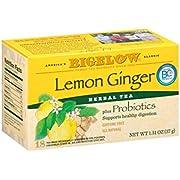 Bigelow Lemon Ginger Plus Probiotics Herbal Tea Bags,  18 Tea Bags